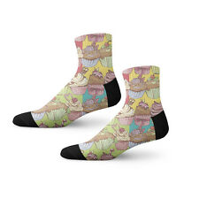 Colorful Cupcake Fun Crazy Cool Novelty 3.5 in Men Women Socks