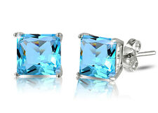 Sterling Silver Princess Cut Simulated Blue Topaz Cubic Zirconia Stud Earrings