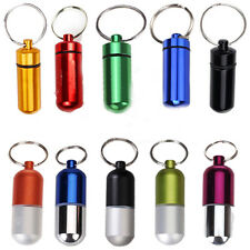 Waterproof Small Aluminium Alloy Pill Tablet Medicine Key Fob Box Ring Keychain