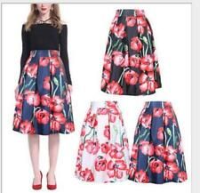 Pastoral Womens red Flower Sweet  High Waist  Pleated dress Swing Skirt New
