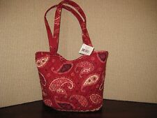 "Vera Bradley Mesa Red Bucket L Tote NWT 10.5"" 13"" 4.5"" 12"" COTTON"