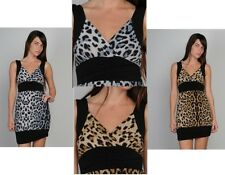 WOMENS LADIES ANIMAL LEOPARD PRINT PLUNGE LONG PARTY CLUB WEAR TOP SIZE 10 12 14