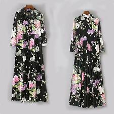 New 2017 Women's Floral Just Cavalli Graphic Pattern Long Sleeves Classic Dress