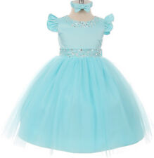 Aqua Pearl Satin Princess Flower Girl Dress Pageant Special Holiday Wedding