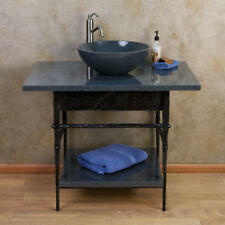 Signature Hardware Console Vanity for Vessel Sink with Granite Top