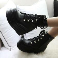 New Fashion Women's Punk Boots Platform Lace up Creepers Gothic Shoes Plus size