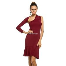 Women Sexy One Shoulder Long Sleeve Bodycon Backless Party Dress N98B