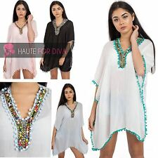 ​Ladies New Lightweight Pom Beaded Kaftan Beach Dress Top Festival Indian Hippy