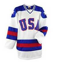 """USA Hockey """"Miracle On Ice"""" Adult Ice Hockey Jersey Away Blue, Home White"""