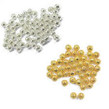 100pcs Silver/Gold Filigree Round Spacer Beads Charms 6/8mm Jewelry Findings DIY