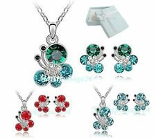 Butterfly Design Necklace Pendant + Studs with Swarovski Elements as Set