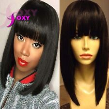 8A Short Bob Wig With Bangs Full Lace Wigs Human Hair Cuts Bob Human Hair Wigs