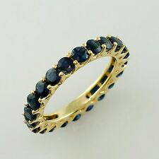 Fabulous Blue Sapphire 3.81 Ct. Cluster Ring Eternity Gold Festival Lady Jewelry