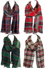 Two Sided Reversible Warm Woollen Tartan Check Print Scarves Scarf Wrap Shawl
