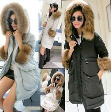Women's Christmas 100% Real Fur Collar Filling Down Jacket Cold-proof Coat Parka