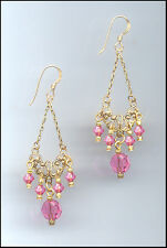 Gold Filigree Earrings with Swarovski ROSE PINK Crystals GIFT BOXED