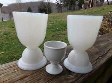 2 Vintage Milk Glass Hazel Atlas Egg Cups & Porcelain Egg Cup Or Eye Wash Cup