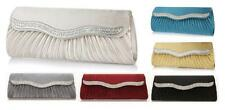 Satin Wavy Crystal Evening Clutch bag Wedding BRIDAL PROM Handbag CHAIN