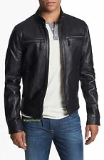 New Detailed Stitched Lambskin Leather Biker Jacket For Stylish Men Coat # M- 52