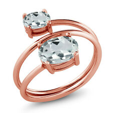 1.53 Ct Oval Sky Blue Aquamarine 18K Rose Gold Plated Silver Ring