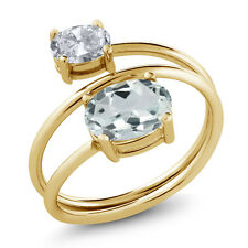 1.60 Ct Oval Sky Blue Aquamarine White Topaz 18K Yellow Gold Plated Silver Ring