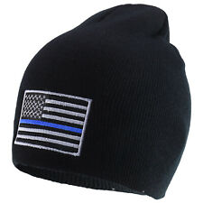 Thin Blue Line Embroidered US American Flag Skull Short Beanie Hat