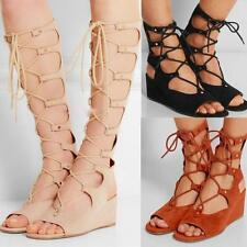 Chic Womens Gladiator Sandal Shoes Leather Bandage Wedge Heel Knee High Boots US