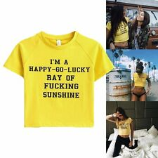 Letter Print Sexy Women's Crop Tops Short Sleeve T-Shirts Bodycon Summer Blouse