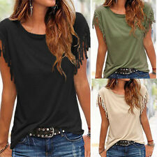 Stylish Womens Solid Tassel Fringe Blouse T-shirt Girls Casual Loose Tops Shirts