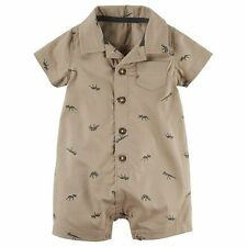 New Carter's Summer Romper Polo NWT 12m 18m 24m Brown Dinosaur Print Boy Outfit