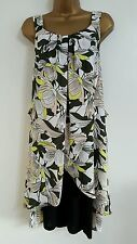 NEW Plus Size 16-28 Animated Floral Layered Green Yellow White Tunic Dress Top