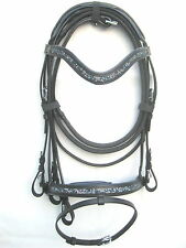 New Dressage bridle with White BLUE comfort poll noseband black +Reins