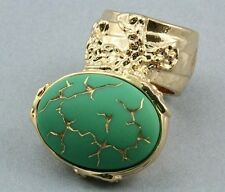 GREEN DECO VINTAGE GLASS STATEMENT KNUCKLE ART RING GOLD ARTY ARMOR WOMEN CHUNKY