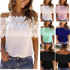 Womens Casual Off Shoulder Lace Chiffon Blouse Strapless Loose Tee Shirt Tops UK