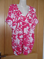 Being Casual Size 12 LOOSE Fuchsia Pink & White Ladies Tunic Top COTTON
