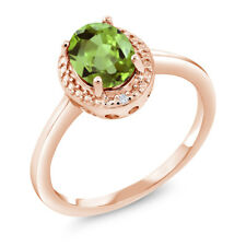 1.34 Ct Oval Green Peridot White Diamond 18K Rose Gold Plated Silver Ring