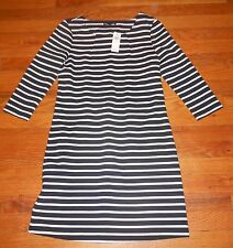Nwt Womens Gap Dark Blue/White Striped 3/4 Sleeve Length Dress Ladies XS $40