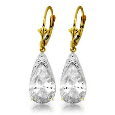14K Gold White Topaz  Leverback Earrings Real Gemstone Retail $1536