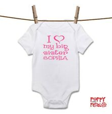 Personalised I Love My Big Sister, Cute Baby Grow Body Suit Vest, Pink Baby Girl