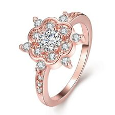 Women 18K Rose Gold Filled GP Swarovski Crystal Flower Zircon Bride Ring Size 8
