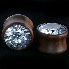 EAR GAUGES-Ear Plugs SONO Wood W/LARGE CZ GEM-HAND CARVED ORGANIC-Pair