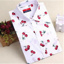 Collar floral Blouse Cherry 1X Blouse Long sleeve  Shirt  Lapel Ladies New