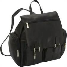 Flap Over Laptop Leather Backpack w 2 Front Pockets [ID 757102]
