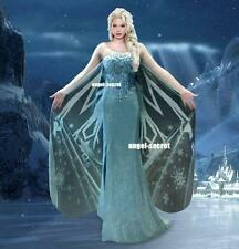 AJ737 Movies Frozen Snow Queen Elsa Cosplay Costume Deluxe palace dress tailor