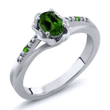 0.46 Ct Oval Green Chrome Diopside Green Simulated Tsavorite 18K White Gold Ring