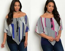 WOMENS LADIES PLUS SIZE GEOMETRIC OFF THE SHOULDER PARTY TUNIC TOP 16 18 20 22