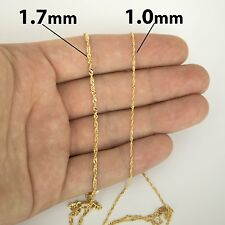 """Solid 14k Yellow/White Gold 1mm Classic Singapore 16""""-18"""" Extendable Necklace"""
