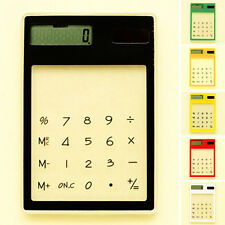 Touch Screen Ultra Slim Solar LCD 8 Digit Electronic Transparent Calculator