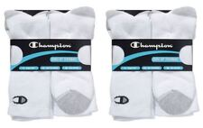 12 Pairs Champion Mens Crew Socks Double Dry White or Black Fits Shoe  6-12