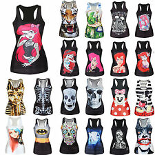 Women Sleeveless Tank Top Digital Gothic Punk Casual Singlet Vest T-shirt Blouse